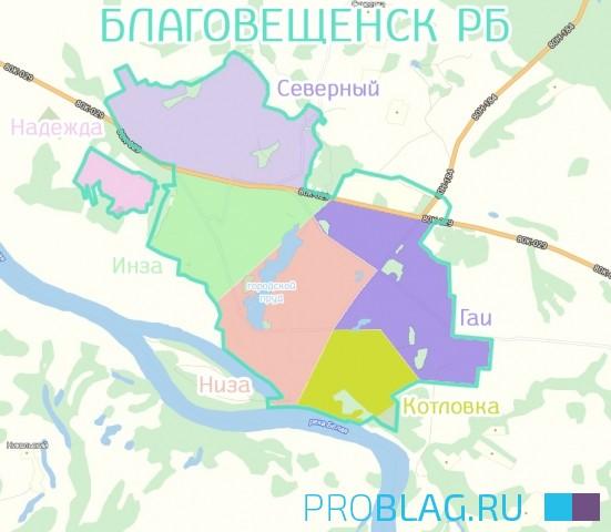 Карта Благовещенска РБ с городскими районами