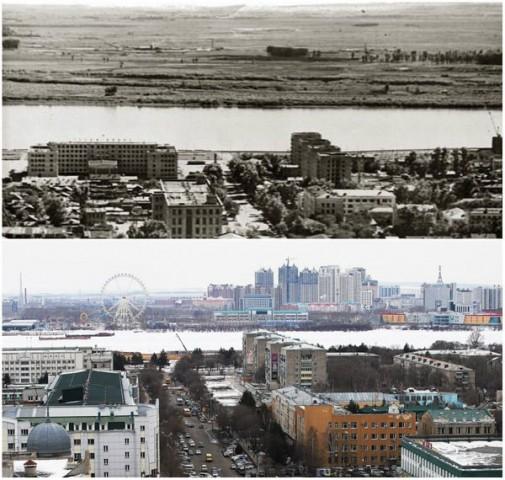 Благовещенск на Амуре (Россия) и Хэйхэ (Китай) в 1969-м году и в 2016 году