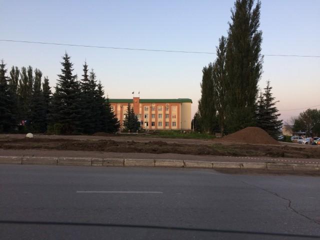 Август 2017. Строительство фонтана в Благовещенске